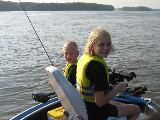 Children Fishing in Life Jackets